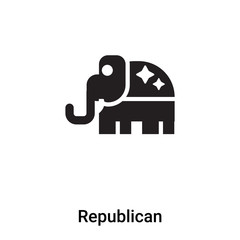 Republican icon vector isolated on white background, logo concept of Republican sign on transparent background, black filled symbol