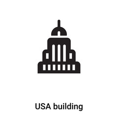 USA building icon vector isolated on white background, logo concept of USA building sign on transparent background, black filled symbol