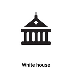 White house icon vector isolated on white background, logo concept of White house sign on transparent background, black filled symbol
