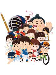 スポーツ選手 集合イラスト