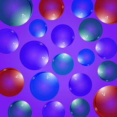Isolated colorful realistic glass bubbles with reflection on a colored background. Isolated blowing bubbles for your design.