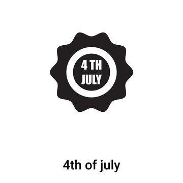 4th of july icon vector isolated on white background, logo concept of 4th of july sign on transparent background, black filled symbol