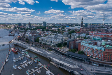 Aerial View on Elbphilharmonie in Hamburg. Summer city landscape.
