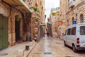 Street of Muslim quarter near Herod's Gate, Jerusalem