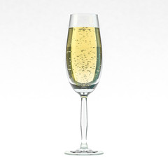 Glass of champagne isolated on a white background. 3D