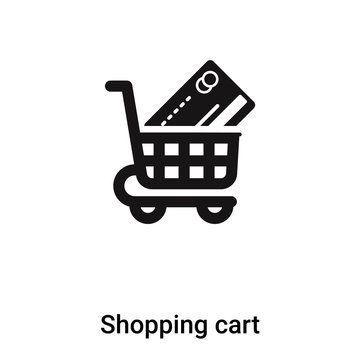 Shopping cart icon vector isolated on white background, logo concept of Shopping cart sign on transparent background, black filled symbol