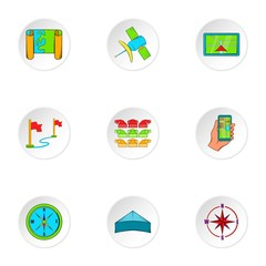 GPS icons set. Cartoon illustration of 9 GPS vector icons for web