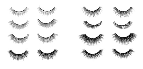Faux lashes set isolated on white background, Vector illustration