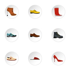 Footwear icons set. Flat illustration of 9 footwear vector icons for web
