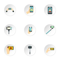 Photo on mobile phone icons set. Flat illustration of 9 photo on mobile phone vector icons for web