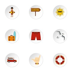 Surfing icons set. Flat illustration of 9 surfing vector icons for web