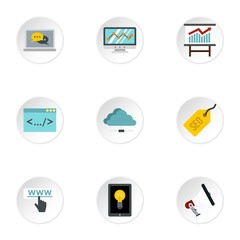 SEO icons set. Flat illustration of 9 SEO vector icons for web