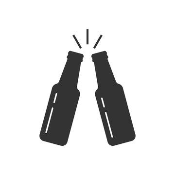 Toasting beer bottles
