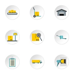 Warehouse icons set. Flat illustration of 9 warehouse vector icons for web