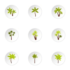 Tree palm icons set. Flat illustration of 9 tree palm vector icons for web