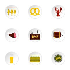 Pub icons set. Flat illustration of 9 pub vector icons for web