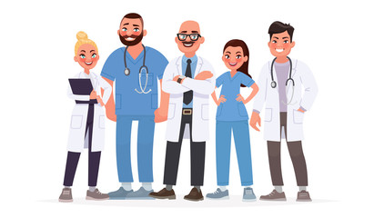 Team of doctors. A group of hospital workers. Medical staff. Vector illustration