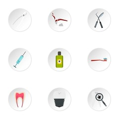 Teeth icons set. Flat illustration of 9 teeth vector icons for web
