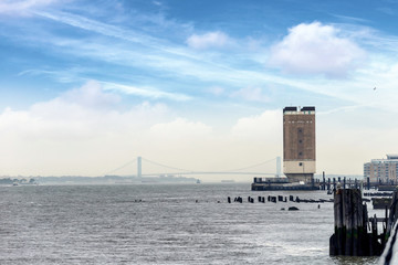 Verrazano bridge view from Hoboken, New Jersey