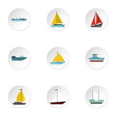 Ship icons set. Flat illustration of 9 ship vector icons for web