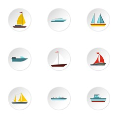 Boat icons set. Flat illustration of 9 boat vector icons for web