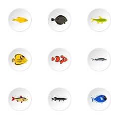 Tropical fish icons set. Flat illustration of 9 tropical fish vector icons for web