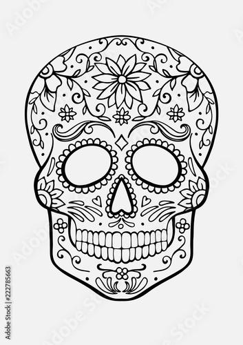 Sugar Skull Coloring Page Stock Image And Royalty Free Vector Files