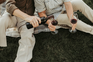 Close up of aged male person pouring wine into glasses his wife hold. They sitting on plaid at green grass. Top view