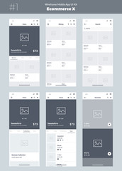 Wireframe kit for mobile phone. Mobile App UI, UX design. New ecommerce screens: store, all products, categories, search, collections, advertising frame.