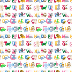 Zoo animals alphabet seamless pattern abc vector background cute cartoon wild characters illustration.