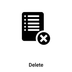 Delete icon vector isolated on white background, logo concept of Delete sign on transparent background, black filled symbol