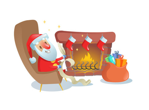 Funny Santa Claus writing a letter by the fireplace. Colorful flat vector illustration. Isolated on white background.