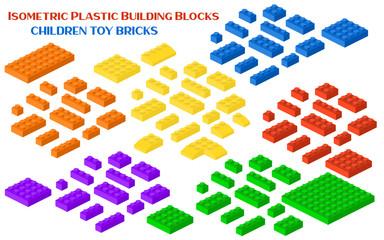 Isometric constructor blocks 3d preschool build cubic vector illustration.