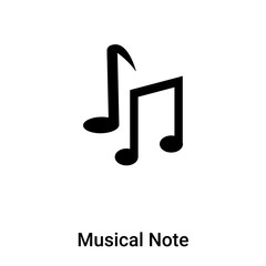 Musical Note icon vector isolated on white background, logo concept of Musical Note sign on transparent background, black filled symbol