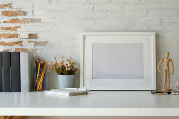 Mockup artist workspace with white frame and copy space.
