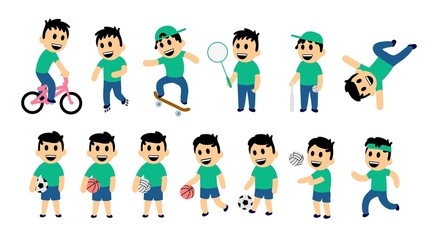 Set of kid street and sport activity. Funny boy in different action poses. Colorful flat vector illustration. Isolated on white background.