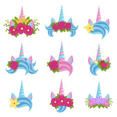Unicorn beautiful tiaras with bright flowers set