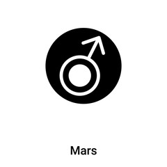 Mars icon vector isolated on white background, logo concept of Mars sign on transparent background, black filled symbol
