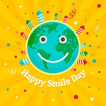 International smile day concept background. Flat illustration of international smile day vector concept background for web design