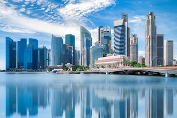 Foto op Aluminium Singapore Singapore city landscape at day blue sky. Downtown business district at Marina Bay view. Urban skyscrapers cityscape