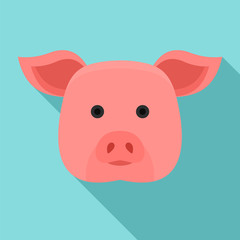 Pig head icon. Flat illustration of pig head vector icon for web design