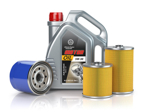 Motor oil canisters andcar oil filter isolated on white background. Auto service and car maintenance concept.