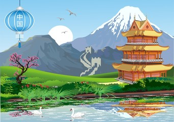 Chinese pagoda in the traditional Oriental style on the lake.