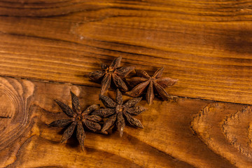 Star anise spice on a wooden table