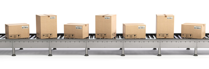 E-commerce, delivery and packaging service concept. Cardboard boxes on conveyor line isolated on white background.
