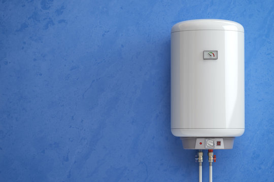 Electric boiler, water heater on the blue wall.
