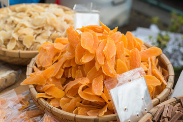Dried fruits on display at a japanese market