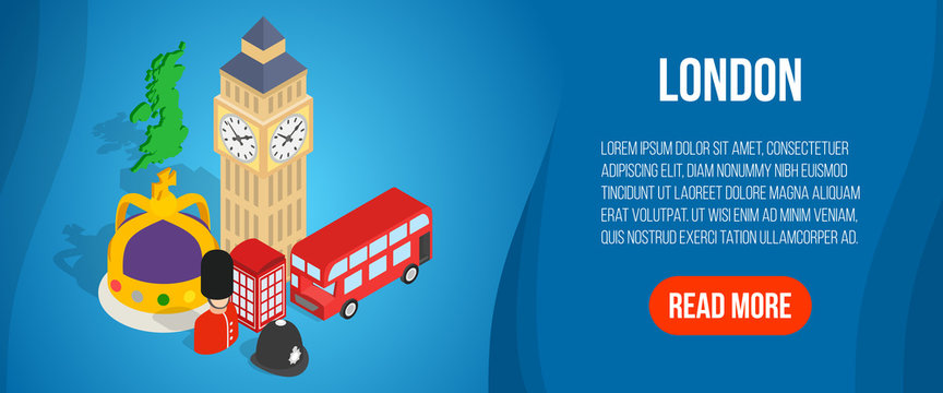 London concept banner. Isometric banner of London vector concept for web, giftcard and postcard