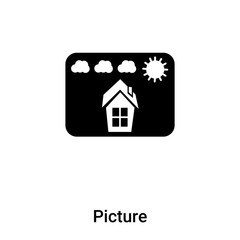 Picture icon vector isolated on white background, logo concept of Picture sign on transparent background, black filled symbol