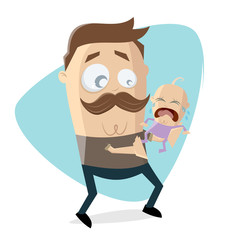worried father with crying baby